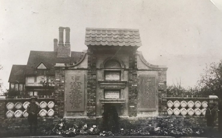 Photo of the War Memorial on Little Gaddesden Village Green, taken in 1921
