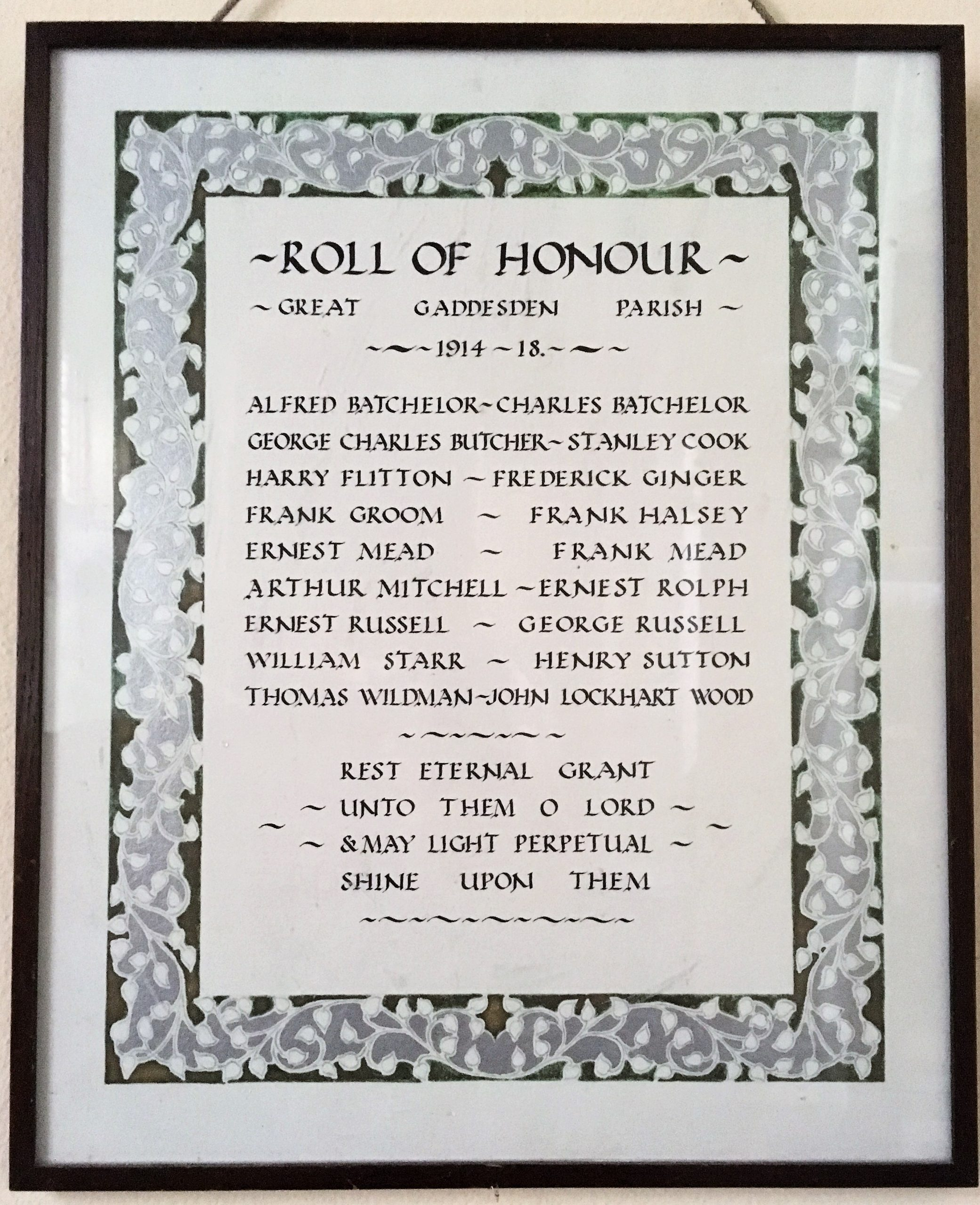 Photo of Great Gaddesden's Roll of Honour