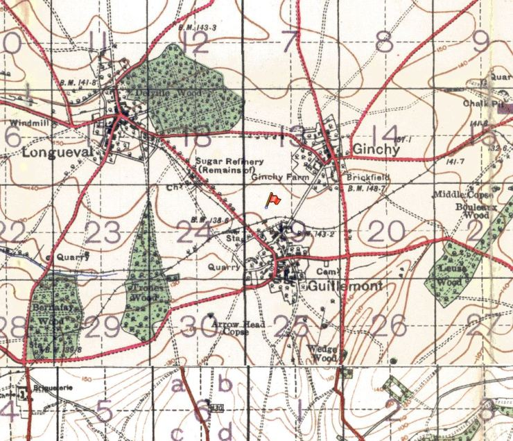 Extract of trench map showing Bertie Gentle's original burial place