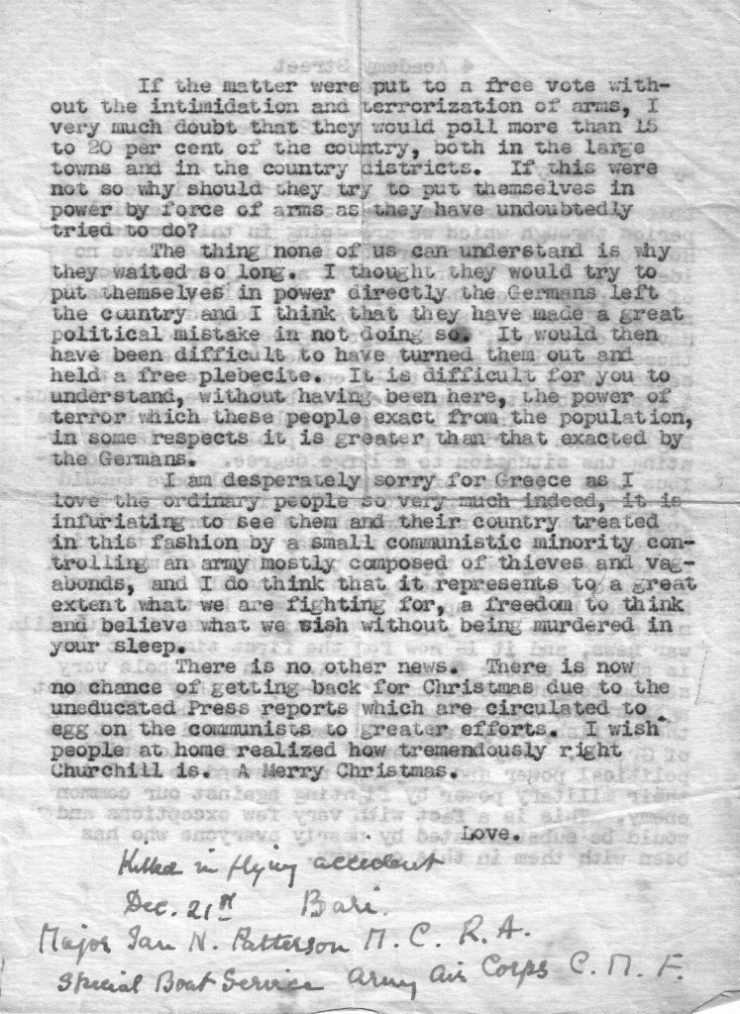 Major Ian Paterson - Letter 12-12-44 page 2