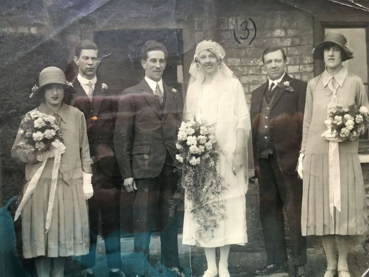 Photo of Bernard Halsey's wedding showing Arthur, Bernard and Sylvia
