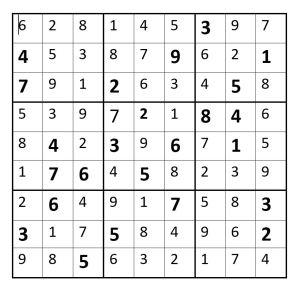 Sudoku grid solution