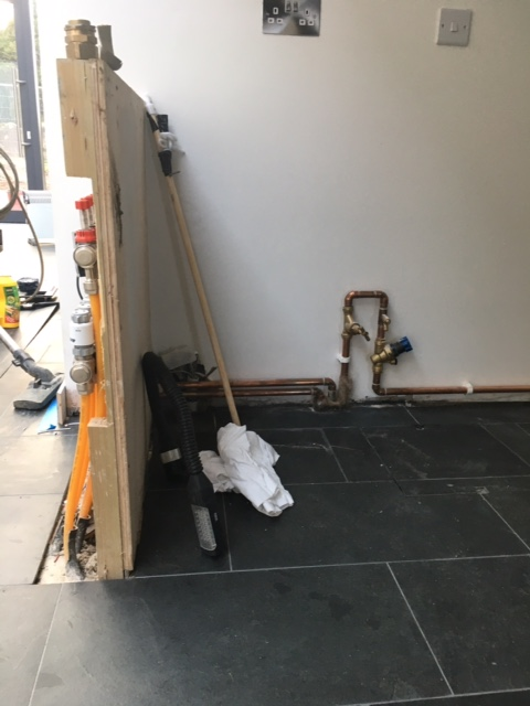 Photo of pipework in new building