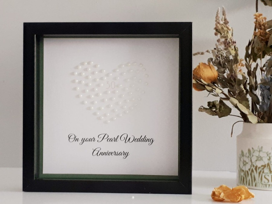 Personalised Pearl Heart Wedding Anniversary Gift