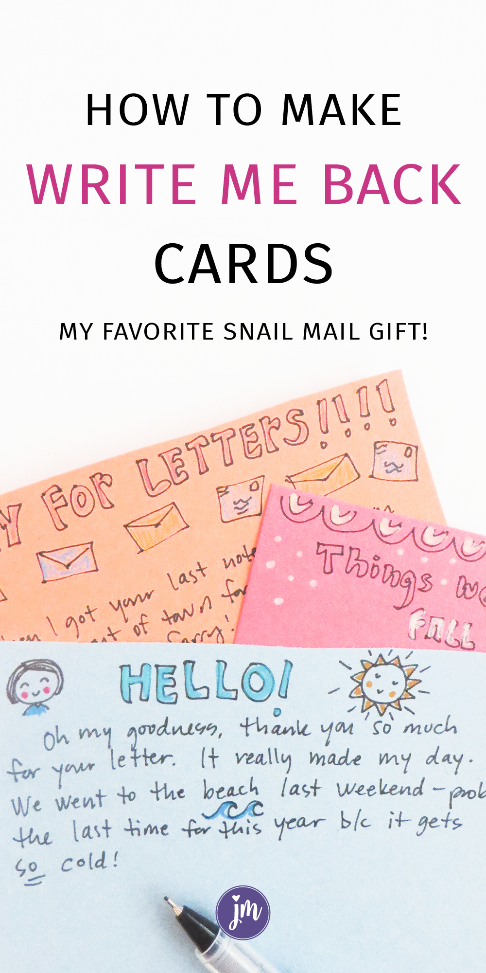 I LOVE these write me back cards! They are seriously one of my favorite snail mail and letter writing gifts ever. Great for best friends, boyfriends, grandkids . . . And it's simple and sweet too! #letterwriting