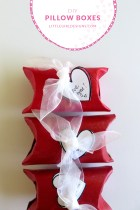 How to make sweet little pillow boxes out of toilet paper rolls to hold tiny treasures and candy for Valentine's Day, birthdays, Mother's Day, Christmas...you name it! @littlegirldesigns.com.