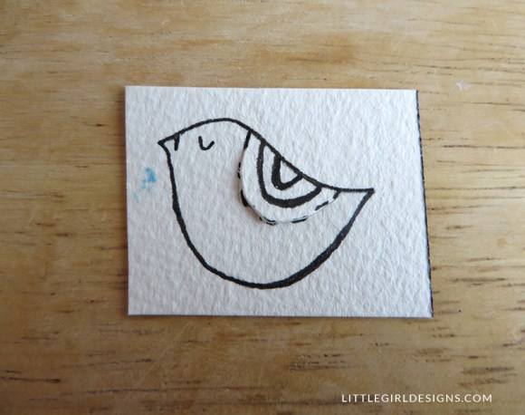 Step three in how to make a little bird bookmark @littlegirldesigns.com