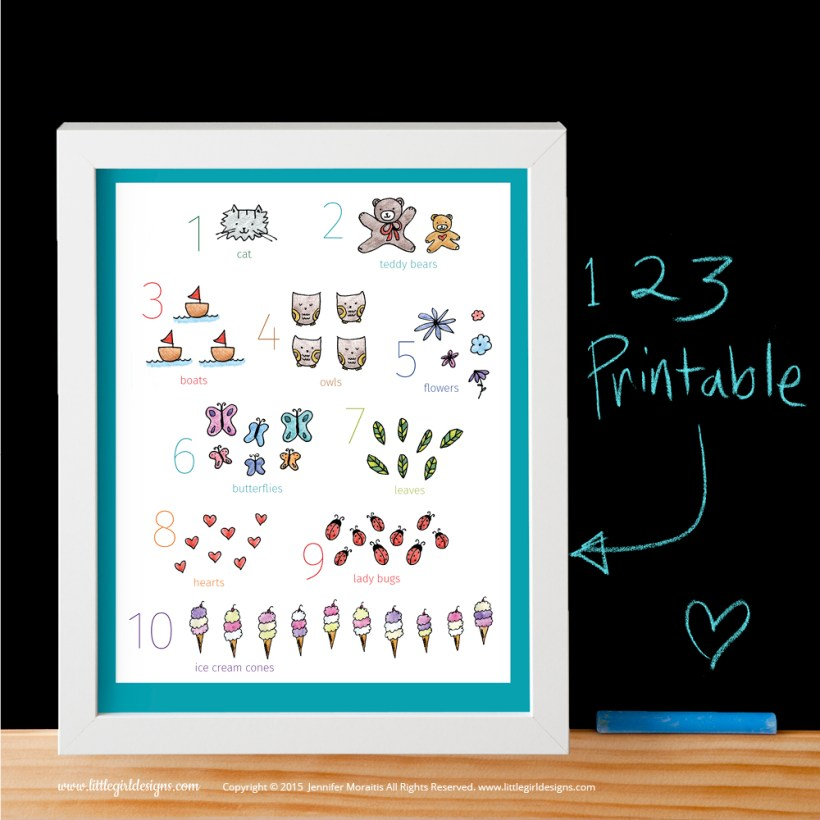 An adorable numbers printable with a turquoise border from the My Little Girl Designs shop on Etsy. @littlegirldesigns.com