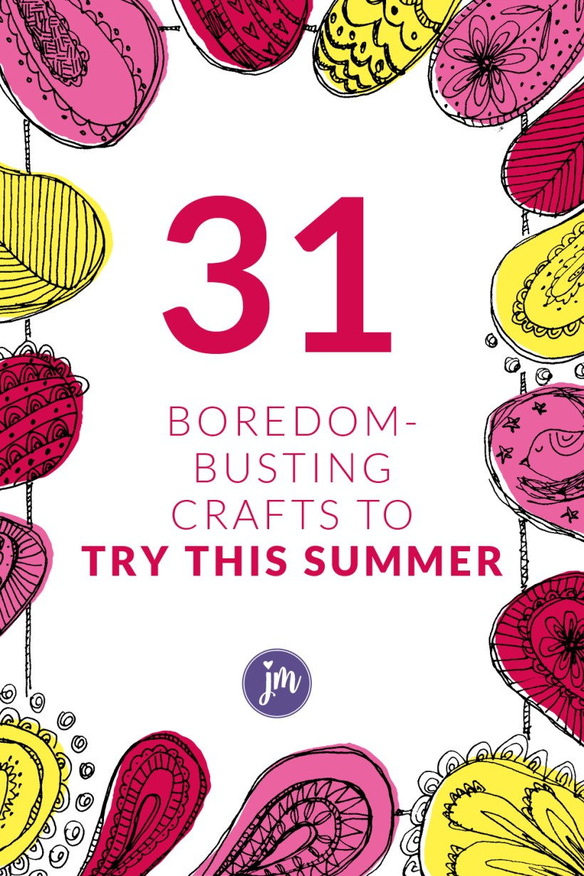 Looking for fun summer crafts for you AND the kids! Look no further! This list is full of easy to manage crafts for kids plus there are several crafts that you as a mom will want to try. (No playdoh or kid's paint required!) Have a great summer!