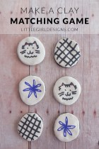 Make a Clay Matching Game - I'll show you how to use air-dry clay to make a simple matching game for kids. You can also use these for a fun tic-tac-toe game! @ littlegirldesigns.com