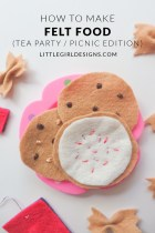 How to Make Felt Food - a simple tutorial on how to make felt food for imaginary play. Tutorial includes cookies and bow-tie pasta. Super simple and a great way to use up felt scraps! @ littlegirldesigns.com