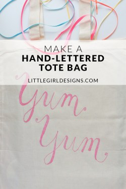 Use this tutorial to whip up a cute hand-lettered tote bag in minutes! You don't even have to know how to do calligraphy to make this! This tutorial is the perfect weekend project and would make a great gift too! :)