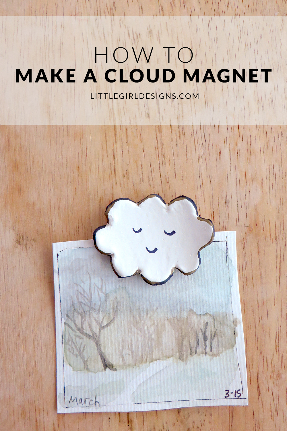 How to Make a Cloud Magnet - Even if you're new to working with air-dry clay, you can easily make a cloud magnet (or a whole set of sweet magnets!) p.s. these make great gifts! via littlegirldesigns.com