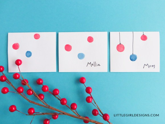 The Easiest Christmas Name Cards - How to make the easiest name cards for Christmas dinner ever. These are so sweet and can be made with whatever colors you'd like! via littlegirldesigns.com