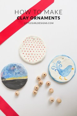 How to Make Clay Ornaments - How to make and paint simple clay ornaments. You really can make them as simple or fancy as you want. Clay is a great surface to experiment on. Oh, and p.s. these make great gifts for Christmas! via littlegirldesigns.com