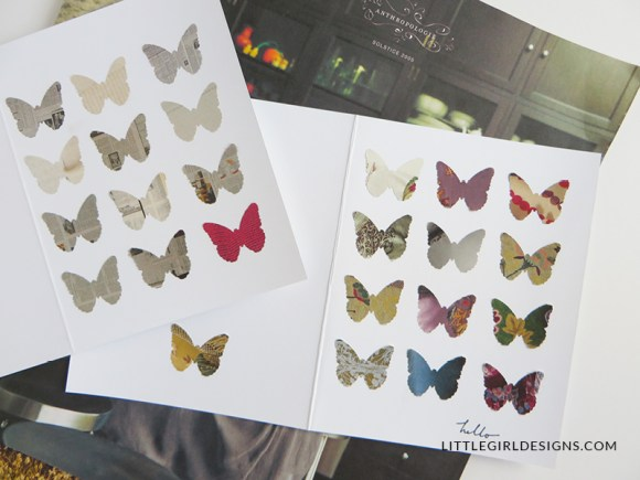 LOVE this card tutorial--it's super easy and now I don't feel so bad about my stacks of Anthropologie catalogs that I can't seem to throw away. This is the kind of tutorial that anyone could do (it's even kid-friendly in my opinion!)