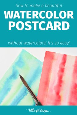How to Make a Watercolor Postcard . . . Without Watercolors! Oh my goodness, I didn't realize you could do this! This method is so simple I taught it to my 5 and 7-year old nieces and they had a hey-day making lovely watercolor-looking pieces. It's so much fun! Also is a great idea for art journaling backgrounds. :) via littlegirldesigns.com