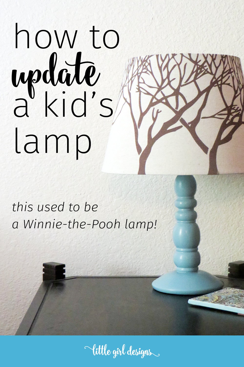 My daughter's Winnie-the-Pooh lamp is so cute but yeah, I don't really want it on my night stand. So I updated it one afternoon. If I had known it was this easy, I would have done this a long time ago!