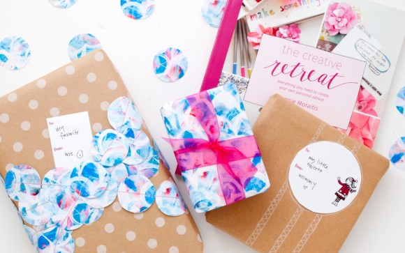 The Creative Retreat Gift Wrap Bundle is 20 pages of printable gift wrap, tags, cards, and of course, miniature bunting.