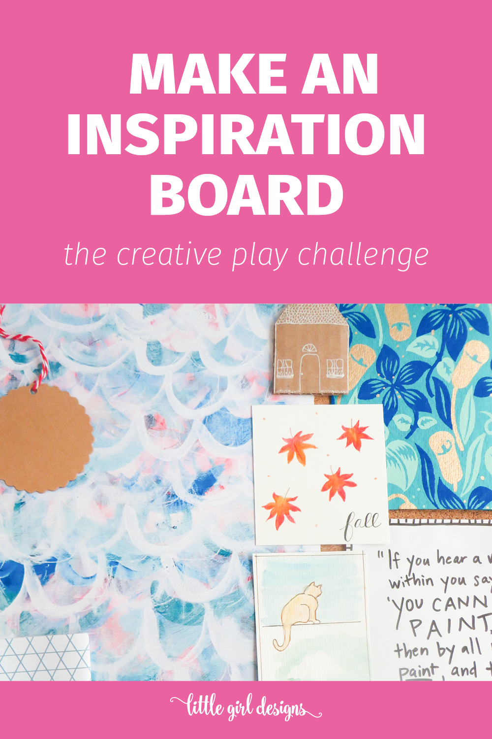 Gather your materials to make this DIY inspiration board. I love having one of these in my craft room and office as well as in my art journals.