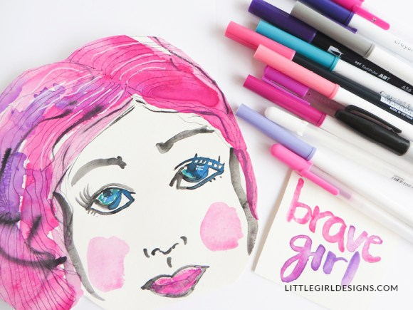 Watercolors, mixed media, and various pens work great in art journaling. Experiment with a variety of mediums in your art journal. You can always turn the page and start over!