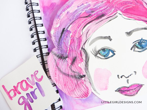 One of my favorite art journal themes is courage and bravery, especially when it comes to making art. So I knew I needed to add it to this art journaling spread!