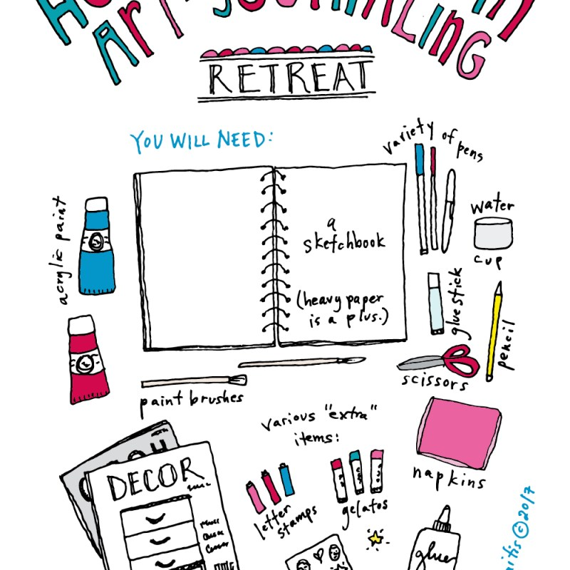 Learn how to create your own art journaling retreat! I've always wanted to go on an artist retreat—this is your chance to DIY your own personal retreat at home. :)
