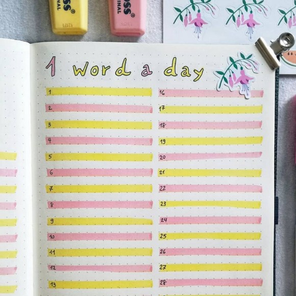 I love this idea of writing out a word a day in my bullet journal to learn a new language! Going to try this #bulletjournal layout. :)