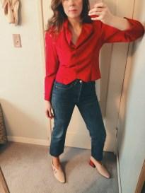 vintage halston ultrasuede blazer, vintage levis, rejina pyo shoes.