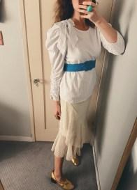 zara top, vintage belt, zara skirt, celine shoes.