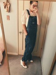 vintage overalls & top, celine heels.