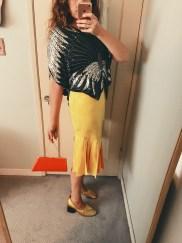 vintage sequin blouse & skirt, celine shoes, vintage bag.