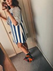 jacquemus dress, zara polka dot top, balenciaga knife boots.