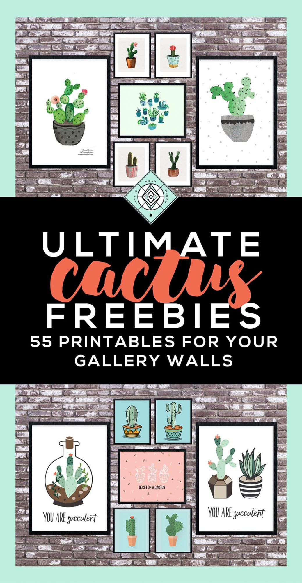 Cactus Art Roundup 55 Awesome Free Printables Little Gold Pixel