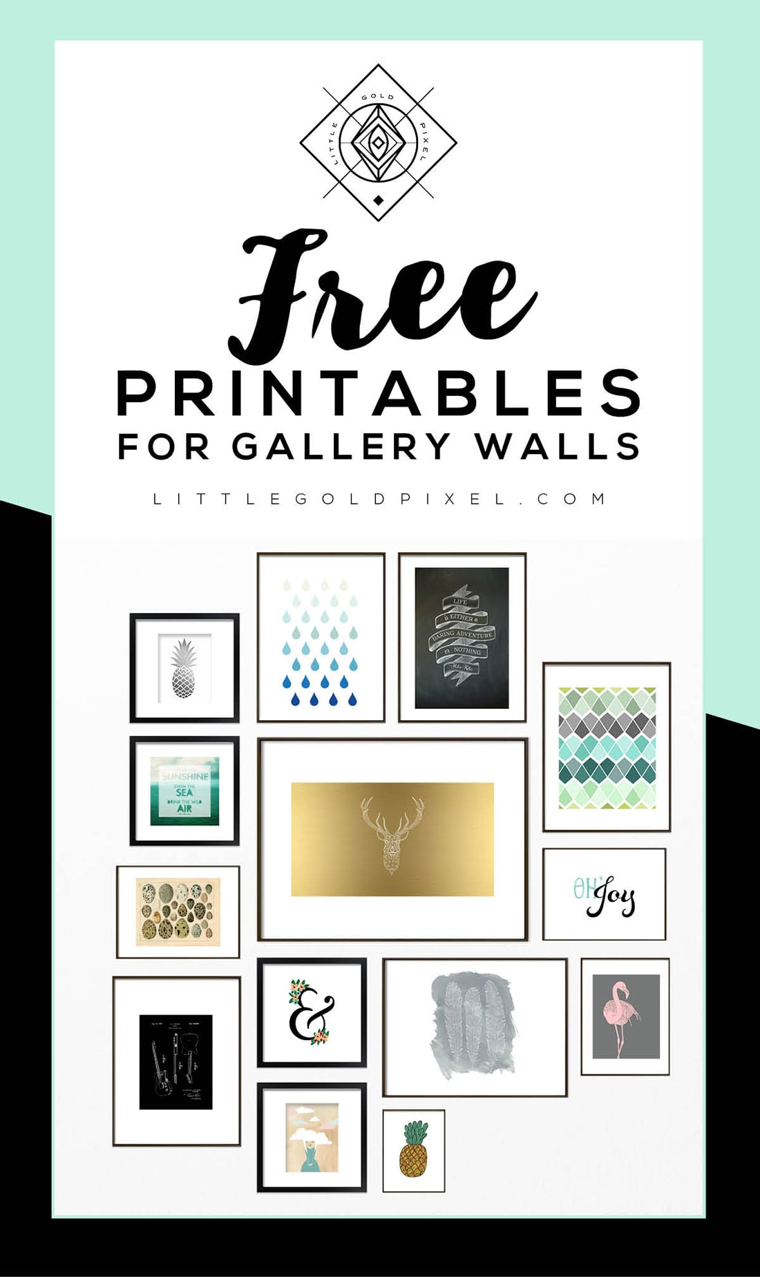 Roundup Free Printables For Gallery Walls Little Gold Pixel
