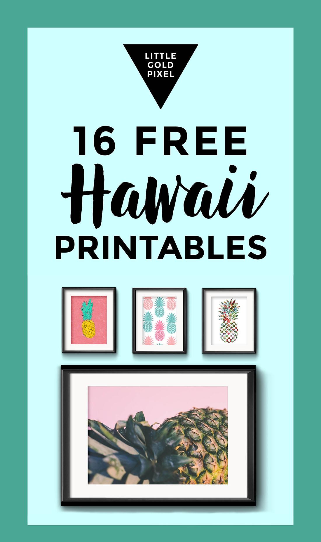 Free Travel Art Hawaii Little Gold Pixel