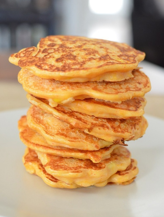 butternut squash and sweetcorn pancake stack