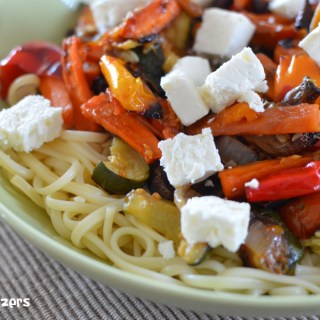 Roasted Vegetables with Feta and Pasta