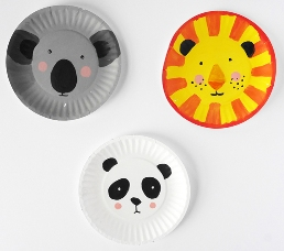 animal paper plate faces