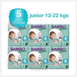 Bambo Nature - Size 5 - Eco Disposable Nappies - Junior 12-22kgs - Bulk Buy (162 nappies)