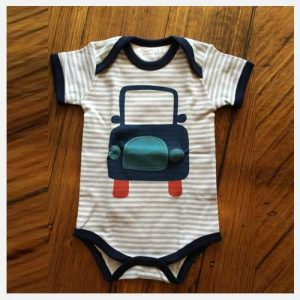 Emotion & Kids Blue and grey stripe short sleeve body suit