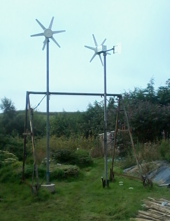 Wind turbines on the vegan permaculture farm