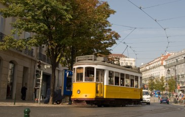 Bright yellow Lisbon tram