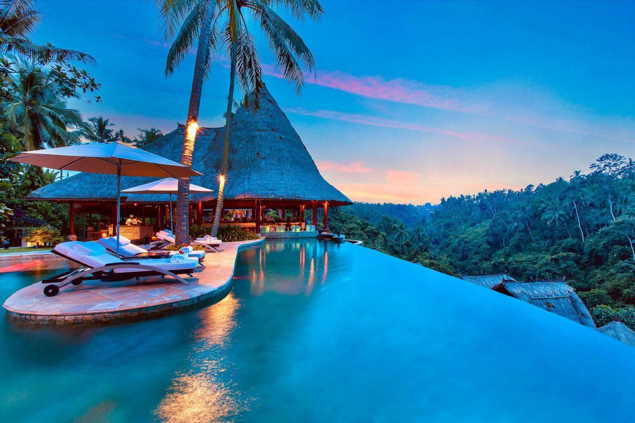main pool evening