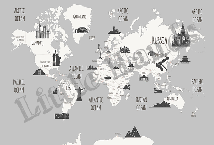 Australia Map Landmarks.Landmarks World Map Little Hands
