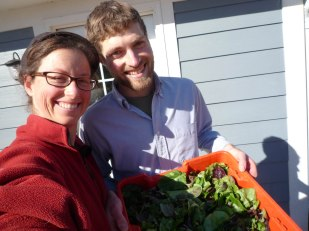 Ben and Heather with their first harvest