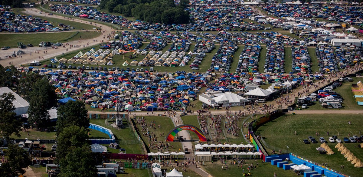 Aerials of the Bonnaroo music and arts festival 2015, Manchester, TN.