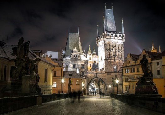 Prague doesn't take a bad picture, even at night. The view from Charles Bridge.