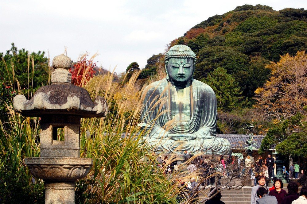 The Daibutsu or Great Buddha in Kamakura is one of the most important landmarks in the region.