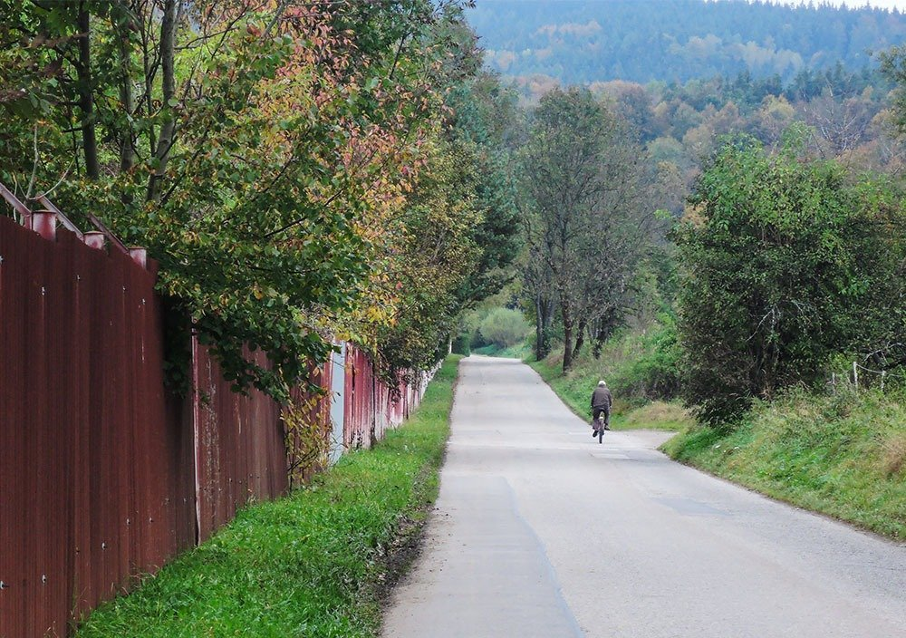 Beautiful countryside roads and hiking trails await just outside Český Krumlov's old town.